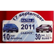 25000 - Carjoy rally shield for 30 years Murena and 10 years Avantime celebration